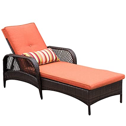 Amazon Com Sundale Outdoor Luxury Reclining Brown Wicker Chaise