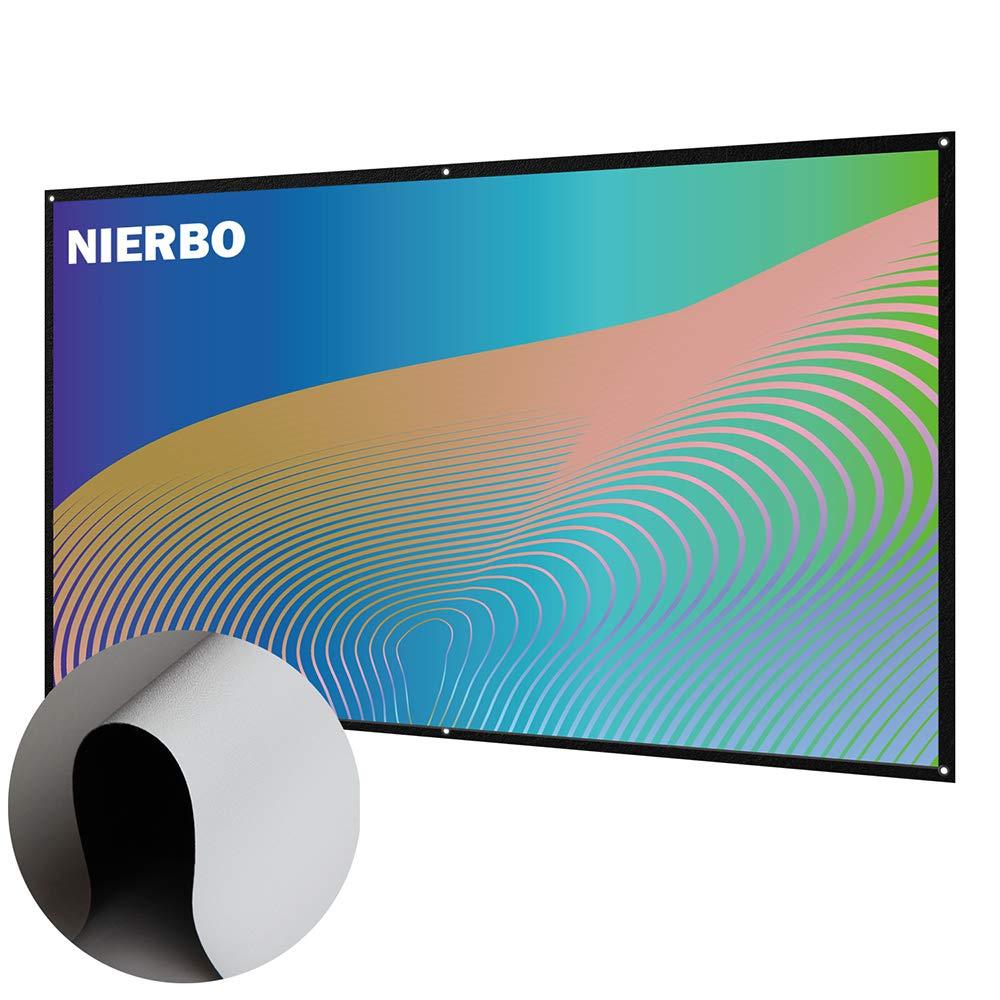NIERBO 120 Pouces 16 9 Toile de Projection Double Face Pliable Projection Ecran Videoprojecteur pour Home Cinema ou bureautique 273X157cm /Écran de Projection Portable