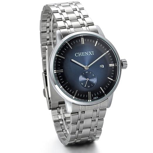 Jewelrywe Reloj de caballero diseño único, Esfera azul marino, elegante de negocio, Hombre reloj de acero, Color Zafiro: Amazon.es: Relojes