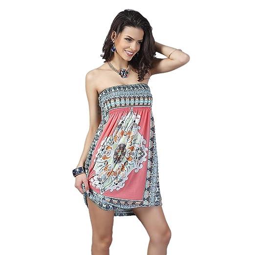 Mandy Women Bohemian Vintage Ropa Mujer Print Beach Dress Vestidos