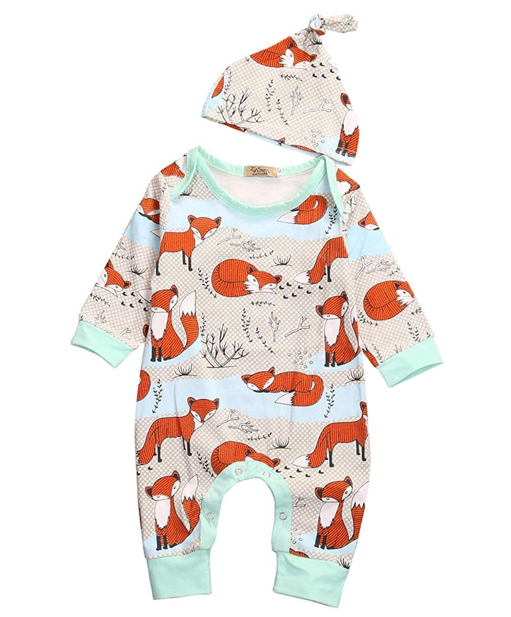 a2db1514b Newborn Baby Boy Girl Fox Jumpsuit Romper Long Sleeves Bodysuit+Hat ...