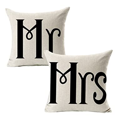 All Smiles Cotton Linen Mr Mrs Home Decor Throw Pillow Case Cushion Covers Pillowcase for Couples Wedding Decorative Square Couch Sofa 18x18,Set of 2