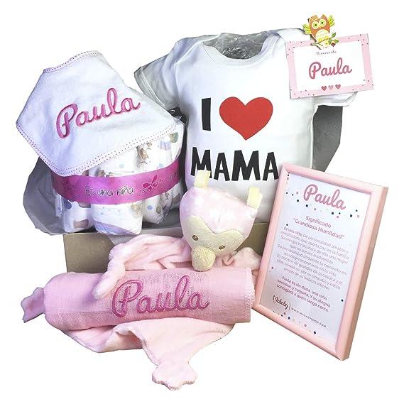 MabyBox Happy Mummy   Canastilla bebe Personalizada   regalo original Bebe   Cesta Regalo Bebé Recién nacido (Azul, 3-6 meses)
