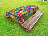 Ambesonne Video Games Outdoor Tablecloth, Colorful Retro Gaming Computer Brick Blocks Image Puzzle Digital 90's Play, Decorative Washable Picnic Table Cloth, 58 X 104 inches, Multicolor