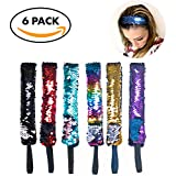 #9: Mermaid Sequin Headbands for Women and Girls Reversible 2-Color Sequin Hair Accessory – Shiny Headbands with Elastic Cord | No-Slip - Great Mermaid Party Favors for Girls - by Frogsac USA (6 pcs)