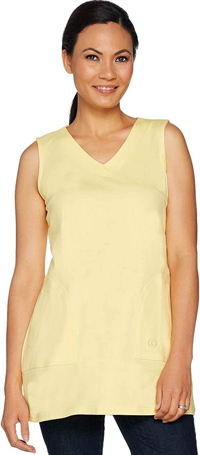 Linea by Louis Dell'Olio Womens Knit V-Neck Tunic Tank Medium Buttercup A290991