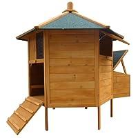 Melko® 6-Eck Hühnerstall Hühnervoliere Pavillion, aus Holz, 131 x 125 cm, braun mit grüner Dachpappe, inkl. Rampe + 2 Hühnerstangen + Nestbox