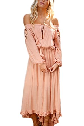 Women Lace Dress Summer Elegant Cotton Off Shoulder Maxi Prom Dresses Pink S