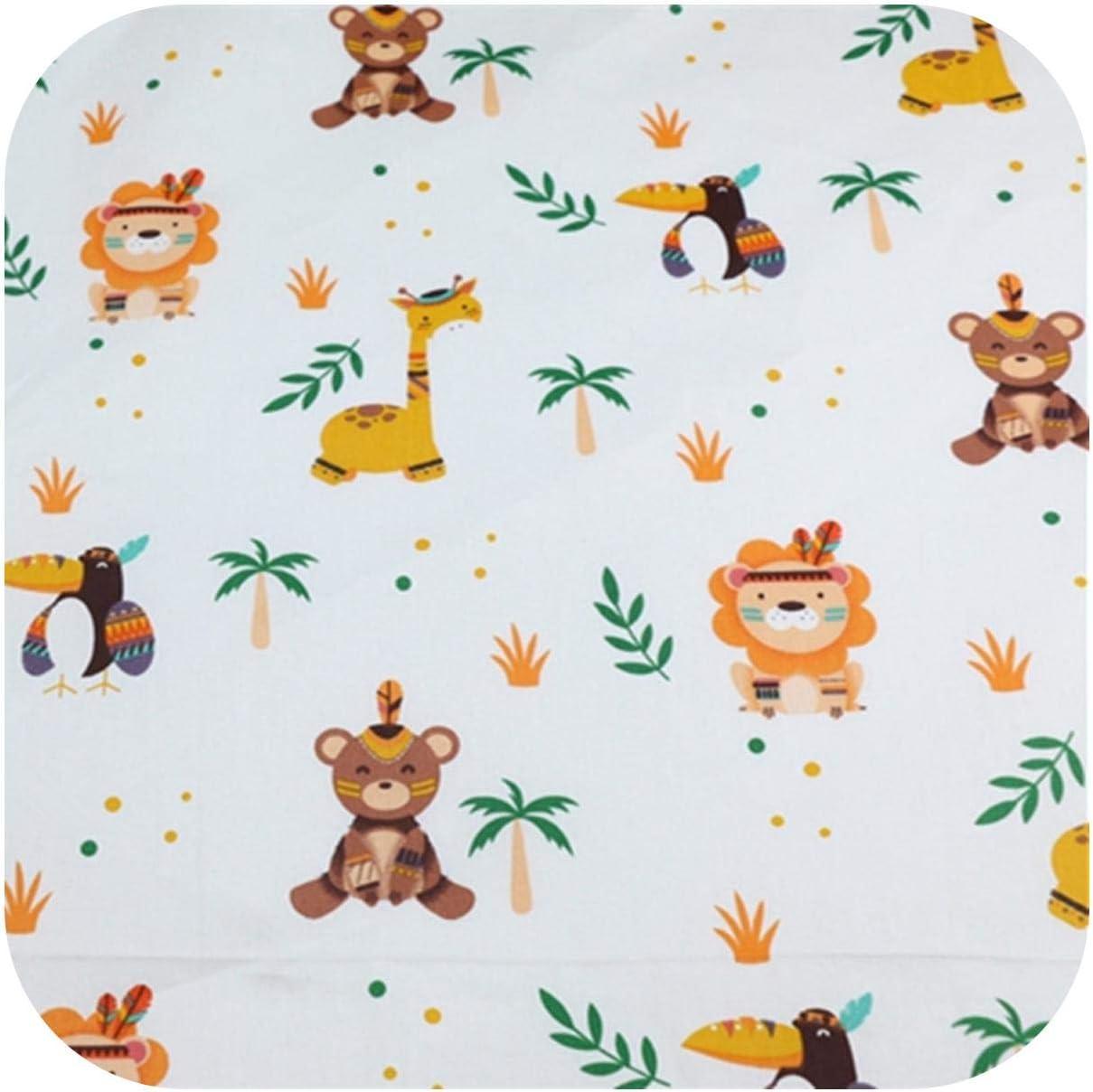 Estampado de animales Tela de sarga de algodón Manualidades Tela DIY Costura Sábanas acolchadas Textil Tela de algodón-Blanco-50x80cm