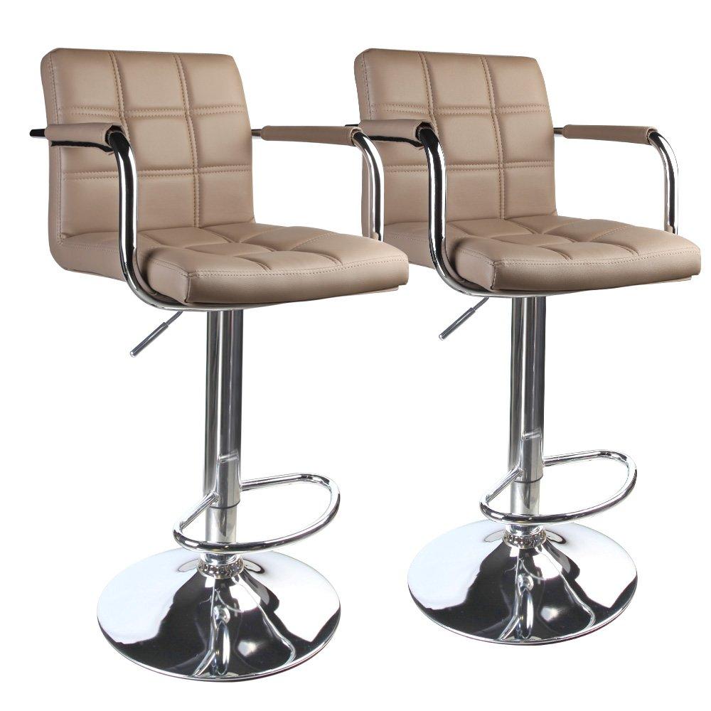 Leopard Modern Square Back Adjustable Bar Stools with armrest,Set of 2,Khaki