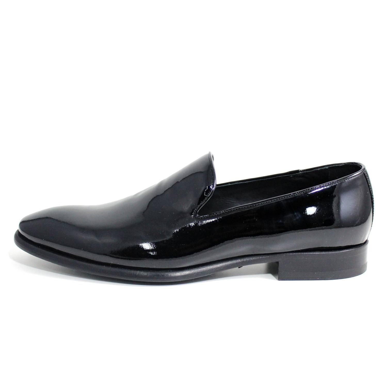 Giorgio rea Elegante Hombre Zapatos Hecho A Mano EN Italia Mocasines EUR 45 - UK 11 - US 12|Negro