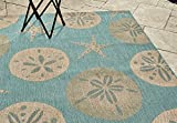 Gertmenian 21268 Nautical Tropical Rug Outdoor Patio, 5x7 Standard, Starfish with Sand Dollar