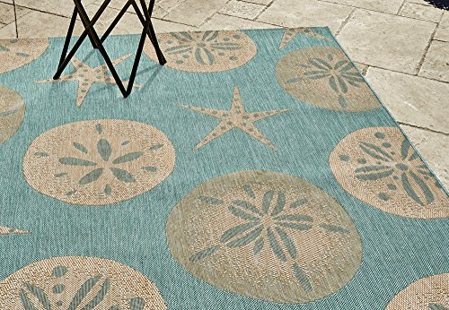 Gertmenian 21268 Nautical Tropical Rug Outdoor Patio, 5x7 Standard, Starfish with Sand Dollar by Gertmenian