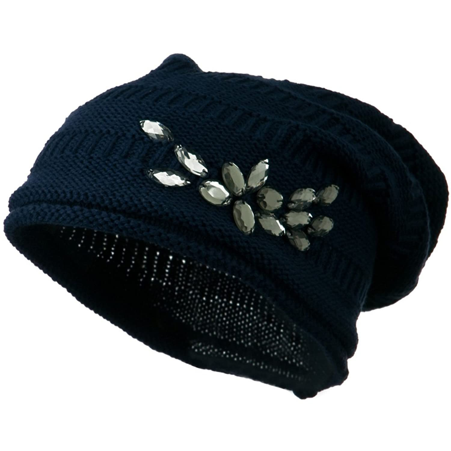 Knit Deep Shell Hat with Rhinestone - Navy W28S23D