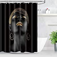 NEWTOO African American Woman Shower Curtain, Afro Girl Girl Gold Black Art Fabric Shower Curtain with 10 Hooks…