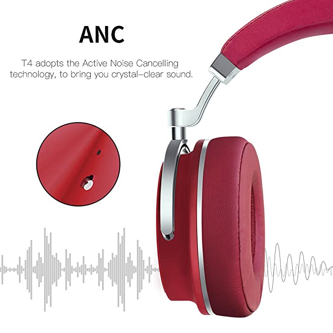Bluedio T4 (Turbine) Auriculares Bluetooth Giratorios con cancelación activa de ruido y micrófono (Rojo): Amazon.es: Oficina y papelería