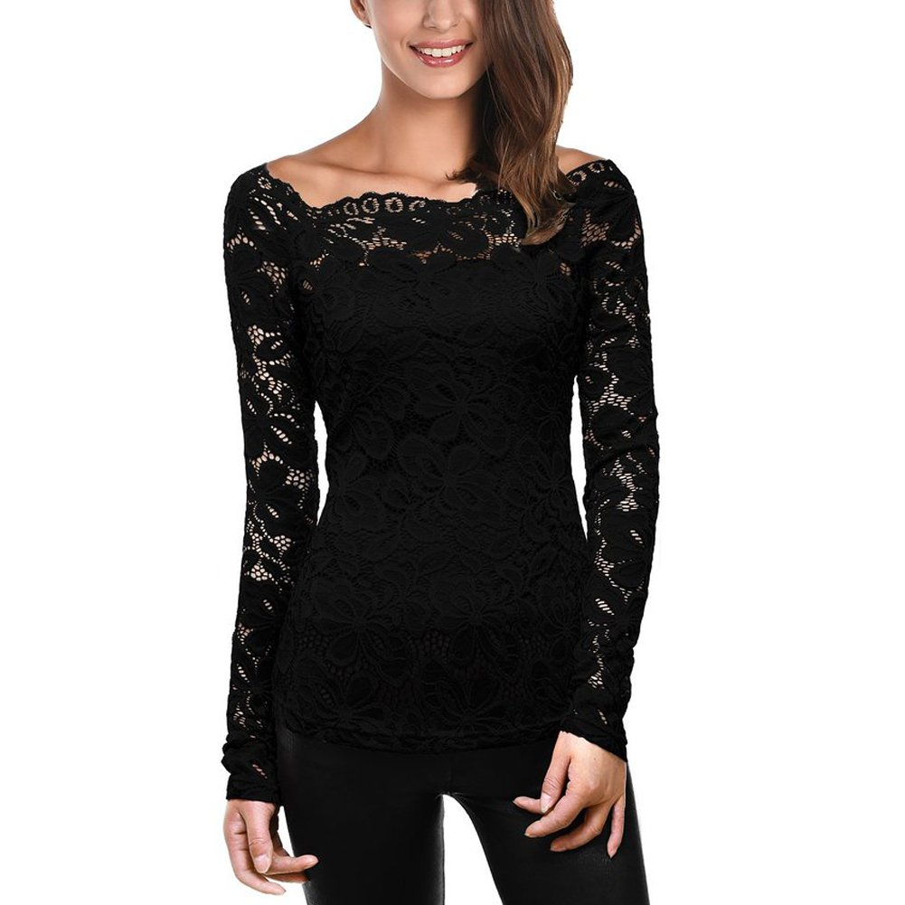Women Floral Off Shoulder Long Sleeve Lace Slim Bottom Shirt T-shirt Blouse Tops (US8-10/Asian3XL, Black) Fashion Story SPS16210