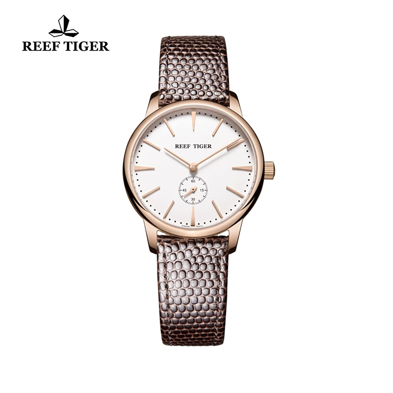 Reef Tiger Uhren fÜr Frauen Ultra Thin Rose Gold weißes Zifferblatt Lederband rga820