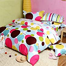 TideTex 4Pc Pop-art Design Bedding Sets Colorful Cute Polka Dot Duvet Cover Stripe Sheets 100% Pure Cotton Home Textiles Rural Style Modern Girls Bedding Sets (Queen, photo color)