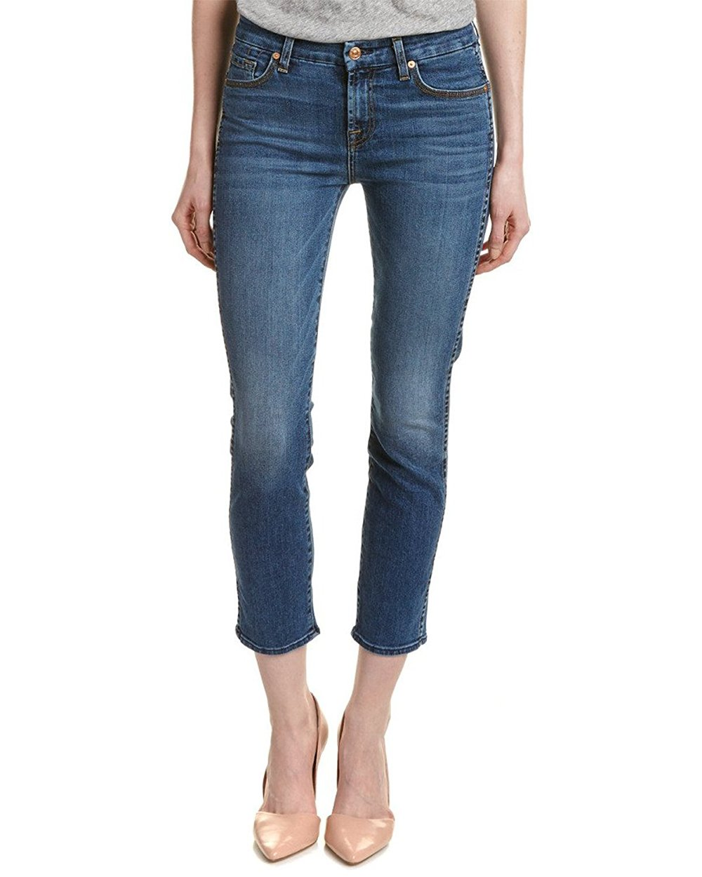 7 For All Mankind Women's The Ankle Straight Slim Straight Hyde Park Wash Jeans (Blue, 25)