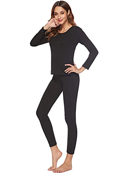 EFINNY Thermal Underwear for Women Lady Long Johns Set Top and Bottom Ultra  Soft Smooth Pjs Sleepwear at Amazon Women s Clothing store  a308556aa
