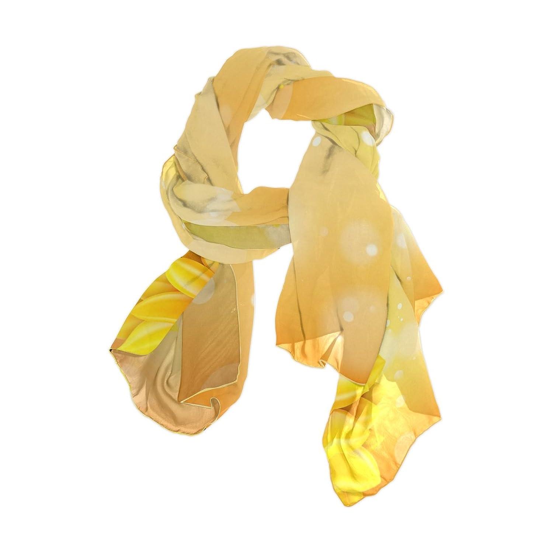 Senya Women's Fashion Large Long Sheer Silk Scarf Shawl Wrap, Sunflower Helianthus