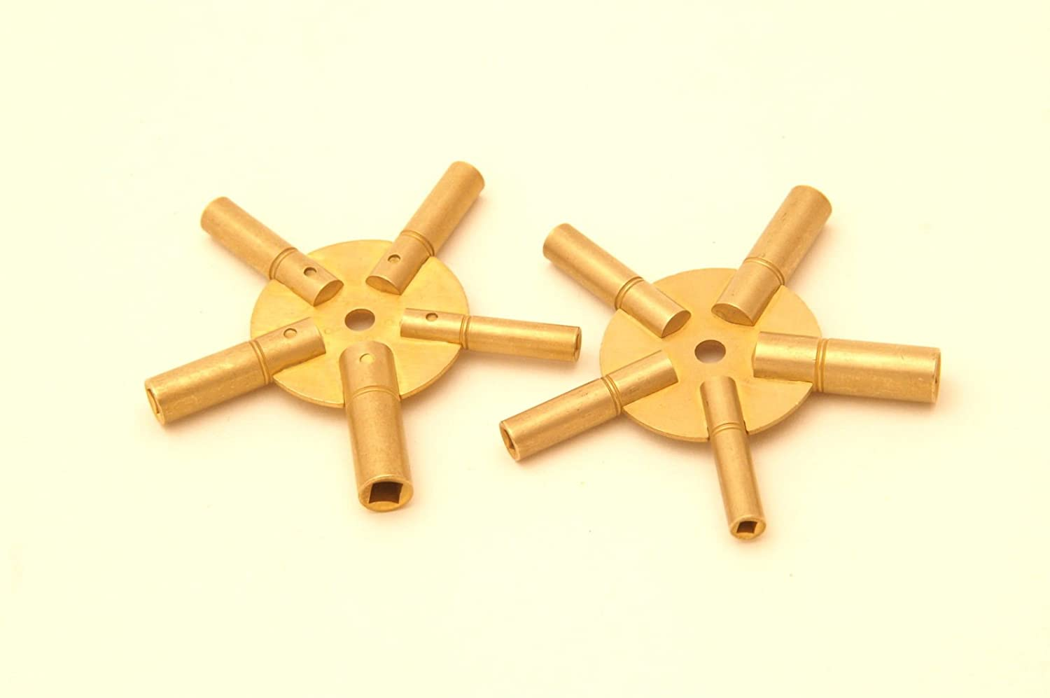 Jewellers Tools Set Of 2 Clock Winding Keys - All Sizes Brass Spider Star Pair - Odd And Even AL Findings Ltd