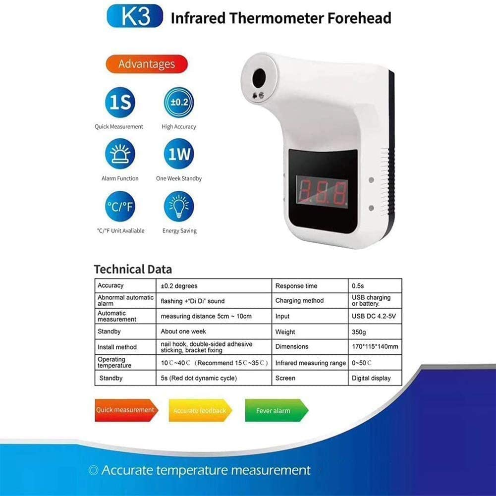 Wall-Mounted Body Temperature Measuring Instrument Non-Contact Infrared Digital Thermometer Forehead Body Temperature Measurement Tool with Accurate Instant Reading Fever Alarm