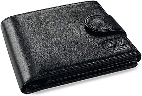 Black Mens Trifold Genuine Leather RFID Blocking Wallet Black New with BOX