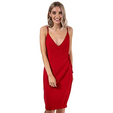 44d311b6fd96f Glamorous Womens Strappy Wrap Dress in Deep Red: Glamorous: Amazon.co.uk:  Clothing