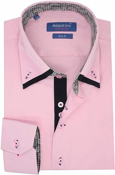 Meadrine Equipados Camisa Rosa Doble Collar de los Hombres diseño de oposición Gris - L, Rosa: Amazon.es: Ropa y accesorios