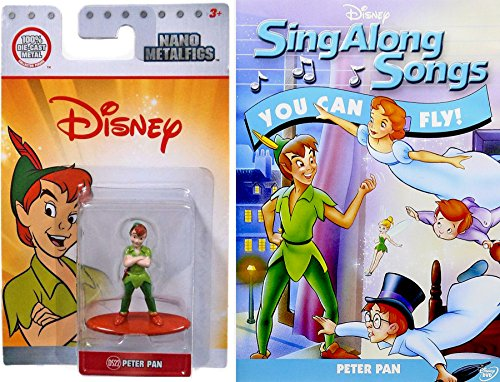 Disney Flying Songs Peter Pan Mini Figure - You Can Fly! Sing Along Songs DVD & Peter Pan Nano miniature / Musical Songs from Dumbo Pinocchio Jungle Book & More! (Sing Along Songs You Can Fly)