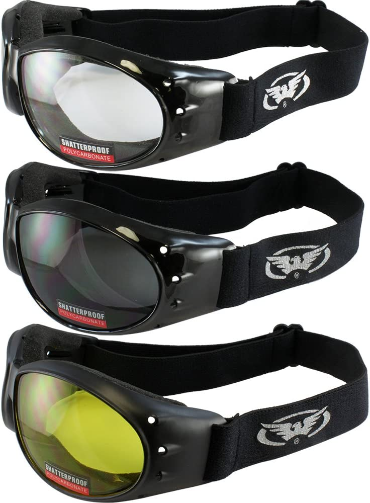 Global Vision 3 Goggles Motorcycle Padded Airsoft Cycling Eliminator Dust Storm Burning Man