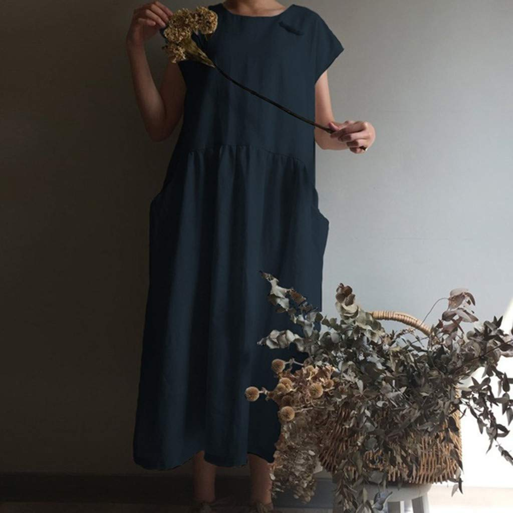 Women's Cotton Linen Dresses Cap Sleeve Summer Maxi O Neck Dress with Pockets Navy by Jianekolaa_Dress (Image #2)