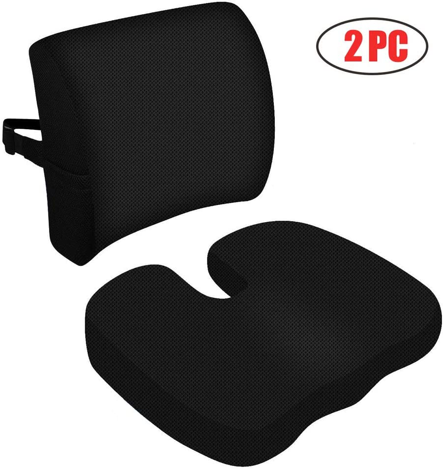Sunfayzz Ergonomic Seat Cushion for Office Chair,Orthopedic Memory Foam Lumbar Support Pillow,Relief Lower Back,Coccyx Sciatica,Tailbone Pain,with Adjustable Strap(Black)