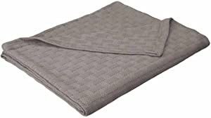 eLuxurySupply Basket Weave Blanket - 100% Soft Premium Cotton Blanket - Perfect for Layering Any Bed, Full/Queen, Charcoal
