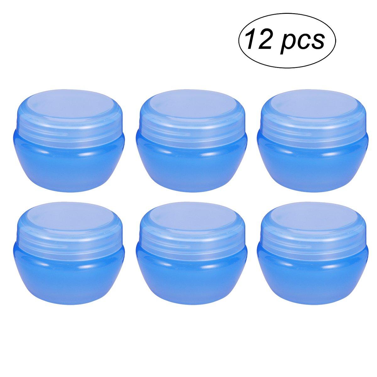 Frcolor Barattolo di crema di 20 contenitori di funghi di vaso di Gram con coperchio sigillato per cosmetici, creme, lozioni, oli essenziali 12 Pack (blu)