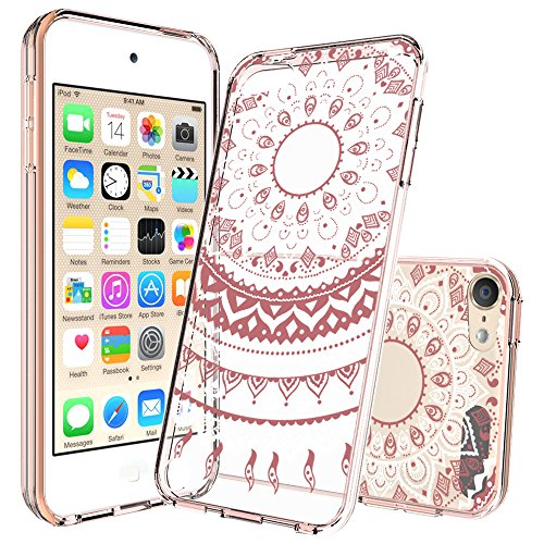 Ipod Touch 6/6th Generation Case,Ipod Touch 5/5th Generation Case Clear, with HD Screen Protector, AnoKe Mandala Flower Acrylic TPU Women Girl Phone Cover Case For Ipod Touch 5 6 TM CH Rose Gold - Easy Ipod