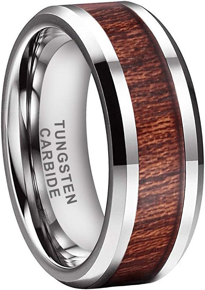 iTungsten 8mm Silver//Black//Rose Gold Tungsten Rings for Men Women Wedding Bands Natural Koa Wood Inlay Beveled Edges Comfort Fit