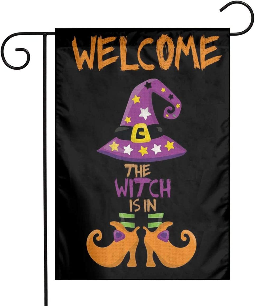 Halloween Fall Harvest Autumn The Witch Is In Witch Hat Boots Set Burlap Garden Porch Lawn Flag Farmhouse Decorations Mailbox Decor Welcome 12x18 Inch Mini Double Sided Flax Nylon Linen Fabric