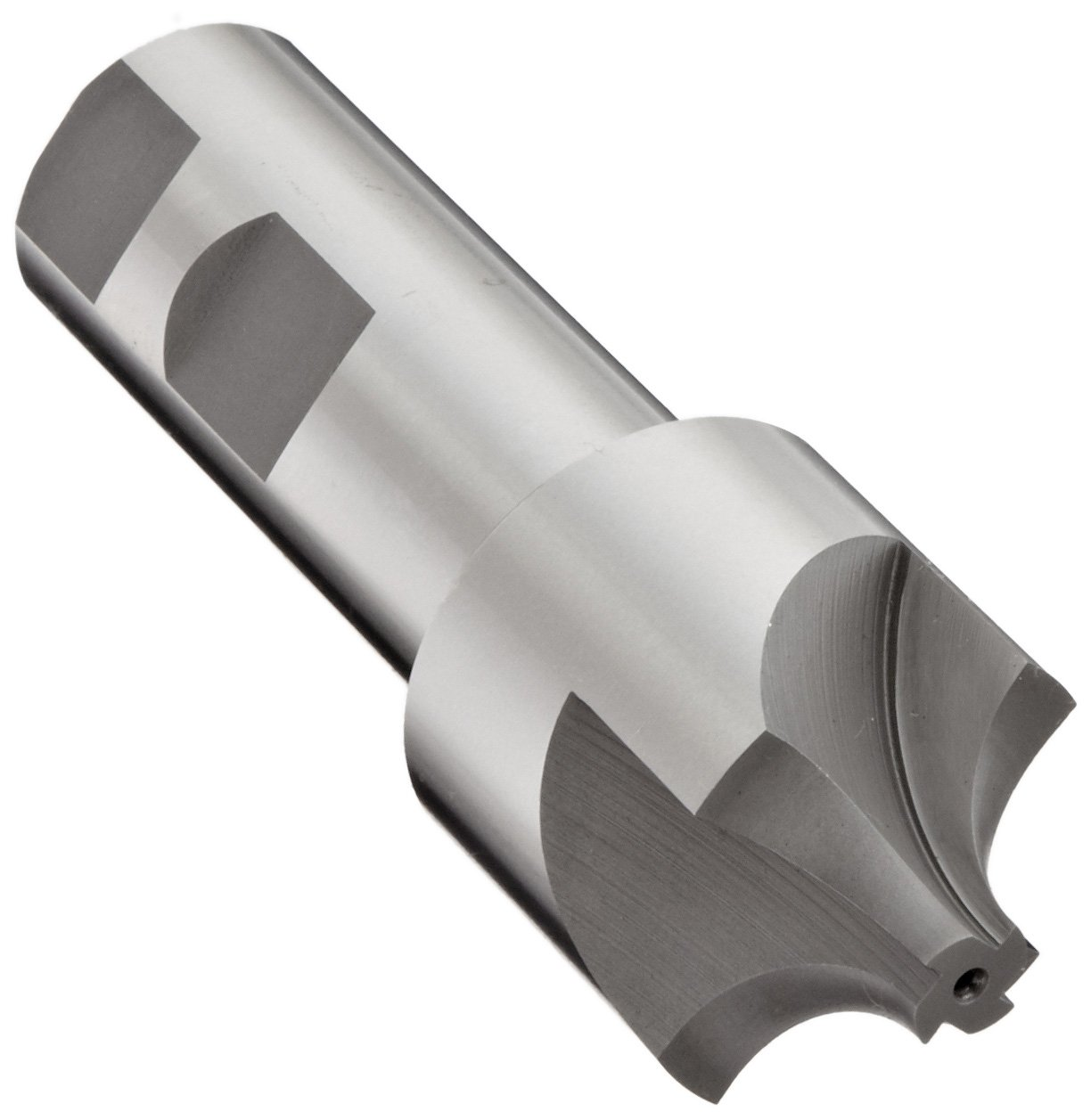 YG-1 E1237 High Speed Steel (HSS) Corner Rounding End Mill, Weldon Shank, Uncoated (Bright) Finish, Non-Center Cutting, 4 Flutes, 3'' Overall Length, 1'' Cutting Diameter, 0.5'' Shank Diameter