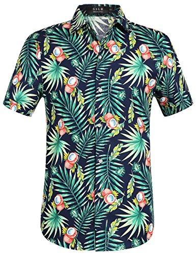 (SSLR Men's Cotton Button Down Short Sleeve Hawaiian Shirt (XX-Large, Navy (168-227)))