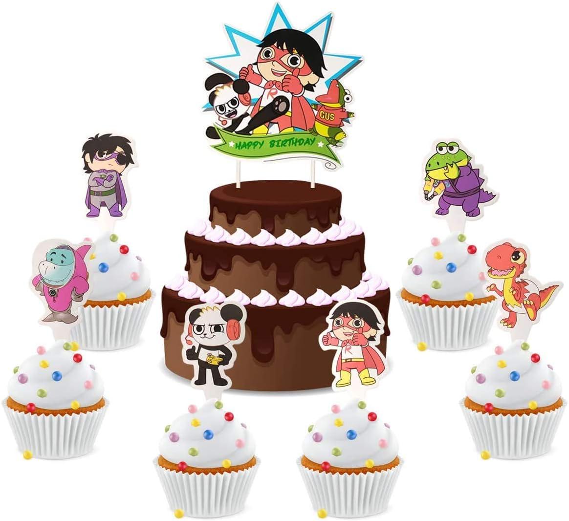 Ryans World Happy birthday cake topper children party supplies birthday party cake decorations 25pcs