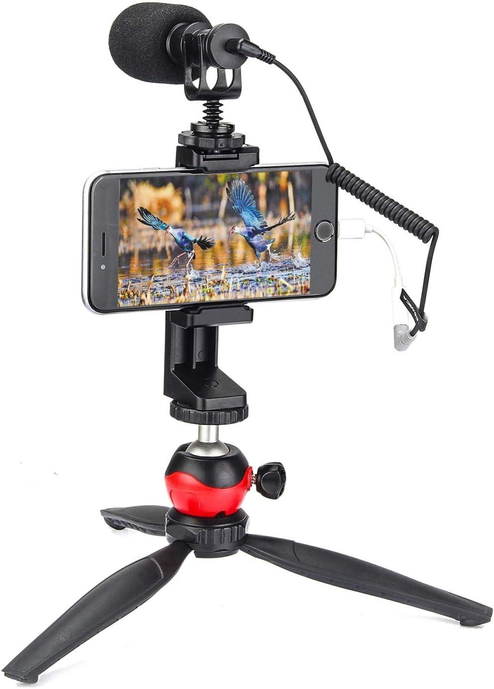 EACHSHOT Smartphone Phone Video Film Filmmaking Recording Microphone Vlogging Kit Filmmaker Mini Tripod with Shotgun Video Mic Video Rig for iPhone 11 Pro Max X 8 Plus 7 Plus Samsung Huawei etc.
