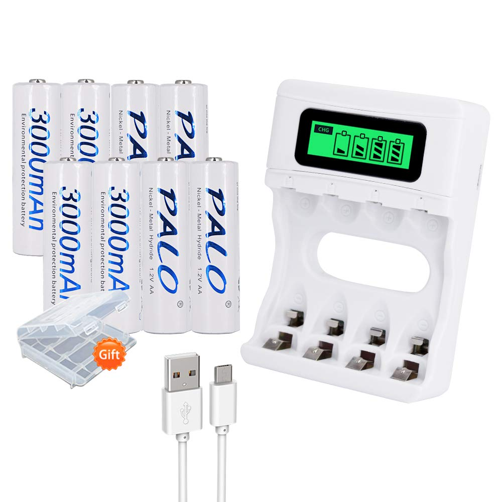 PALO 16 Bay LCD Smart AA AAA Battery Charger with 16 Pack AA 3000mAh Ni-MH Rechargeable Batteries - Battery Case Included (Can Charge Batteries Individually, Not Must in Pairs)