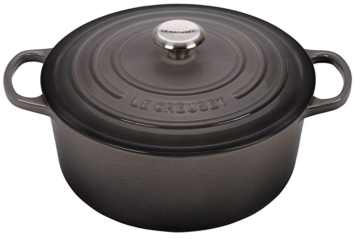 Le Creuset Signature Enameled Cast-Iron 5-1/2-Quart Round French (Dutch) Oven, Oyster