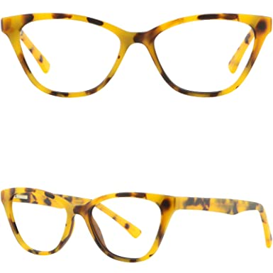 80844e1aa8 Image Unavailable. Image not available for. Color  Womens Acetate Plastic  Frame Yellow Tortoiseshell Spring Hinges Glasses Eyeglass