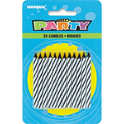 Black Striped Birthday Candles, 24ct (Black Striped Candle)