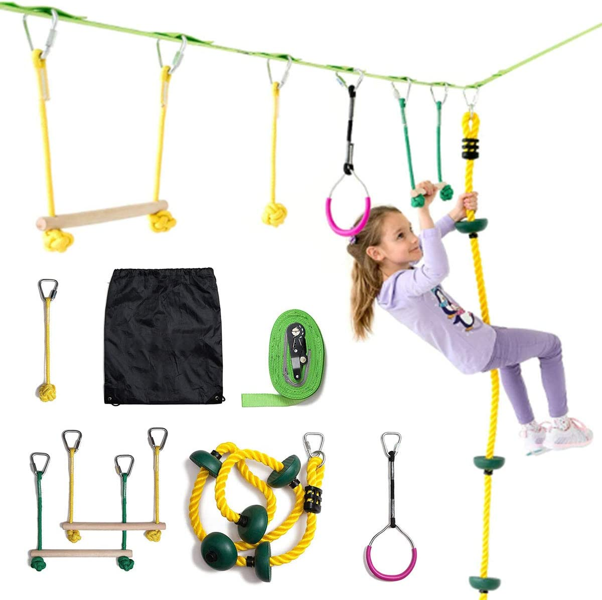Umeken 56 Feet Slacklines for Adults Children Kids Balance Training Tight Ropes with Tree Protectors Easy Set up Instruction Booklet and Carry Bag Outdoor Backyard Camping Fun