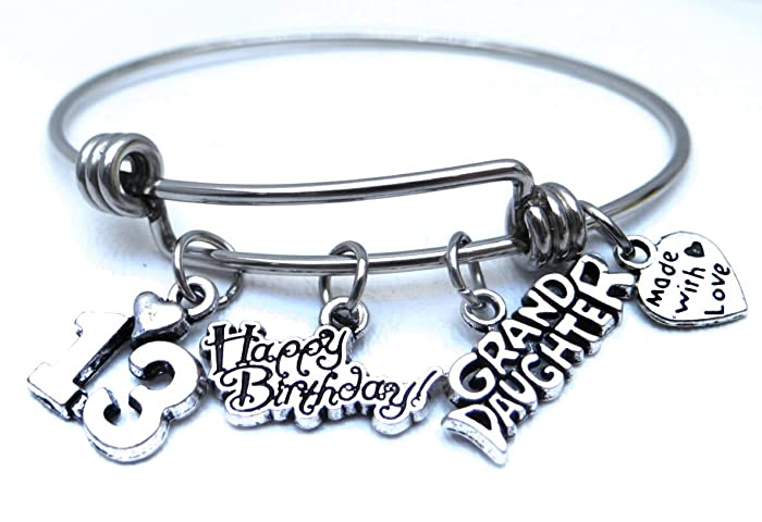 13th Bracelet Birthday Granddaughter Gift Teen For Jewelry Stamped Happy